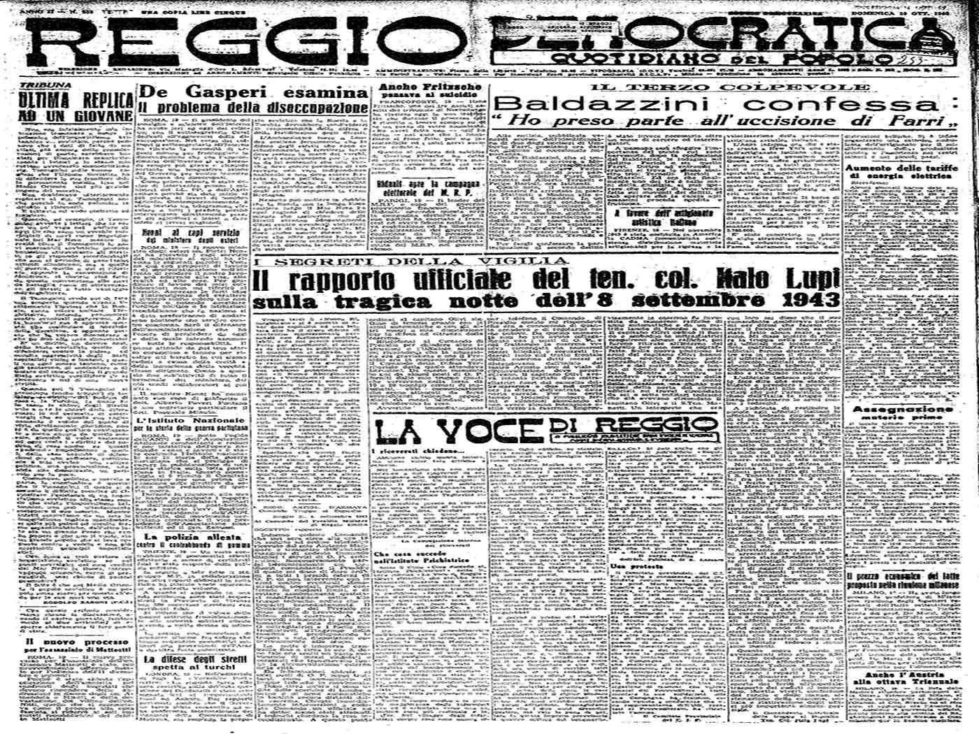 Reggio Democratica - RAPPORTO DEL TENENTE COLONNELLO ITALO LUPI SULLA NOTTE FRA L'8 E IL 9 SETTEMBRE 1943,