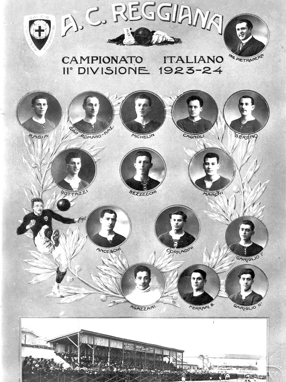 Cartolina della A.C. Reggiana 1923-1924 Fototeca Biblioteca Panizzi, Fondo Renzo Vaiani, Reggio Emilia 1924