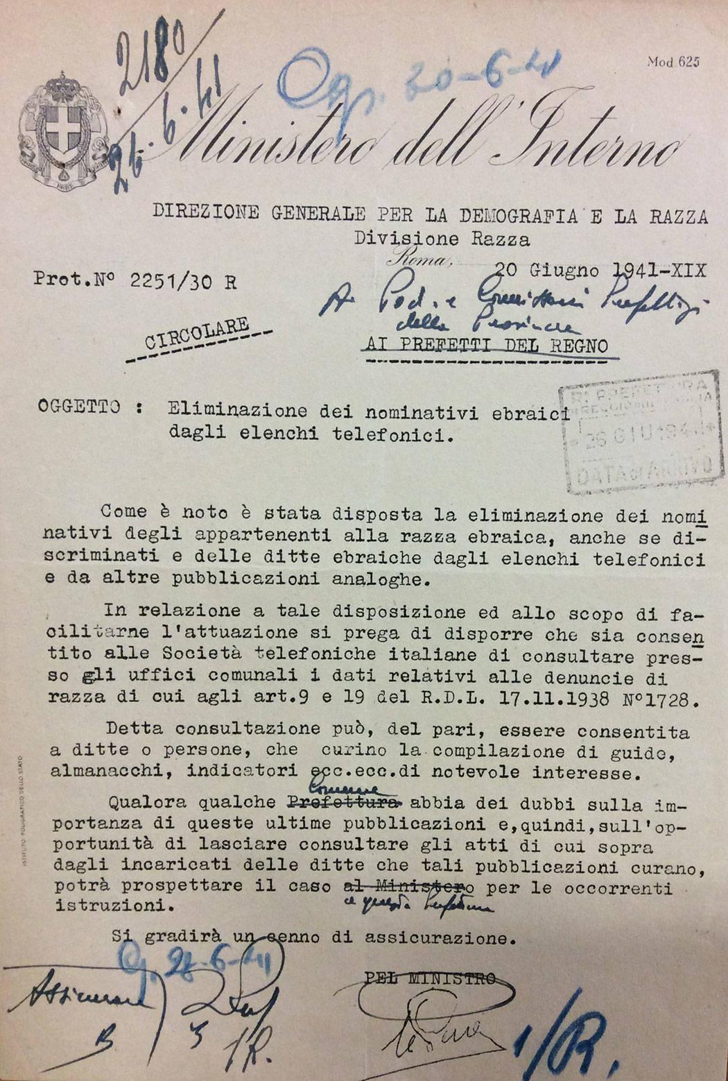 CIRCOLARE DEL MINISTERO DELL'INTERNO PER L'ELIMINAZIONE DEI NOMINATIVI EBRAICI DAGLI ELENCHI TELEFONICI, 20 GIUGNO 1941,