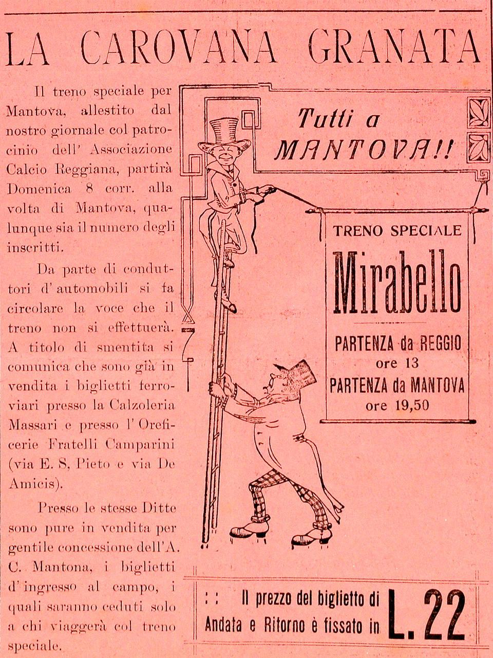 """Il """"Mirabello"""" Edizione dell'8 giugno 1924 Emeroteca Biblioteca Panizzi, Reggio Emilia 1924"""