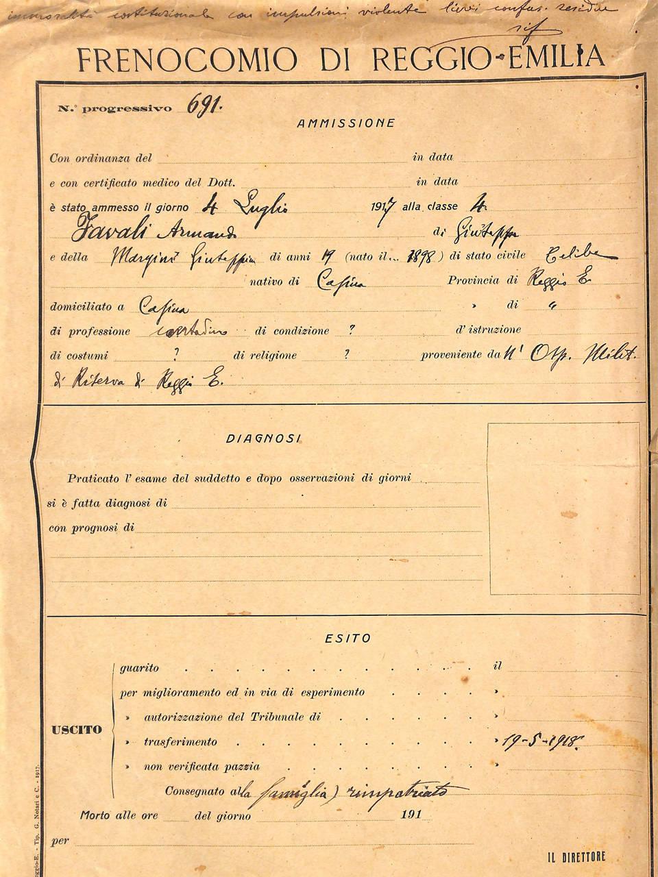 cartella clinica Armando F.  - archivio ospedale psichiatrico san lazzaro di reggio emilia - ausl re