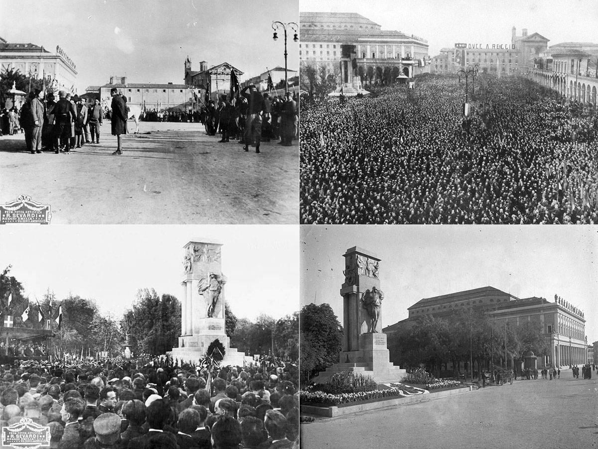 PARATA CAMICIE NERE IN PIAZZA DELLA VITTORIA PER LA MARCIA SU ROMA,  FOTOTECA BIBLIOTECA PANIZZI, ROBERTO SEVARDI, REGGIO EMILIA OTTOBRE 1922 FOLLA IN PIAZZA DELLA VITTORIA PER LA VENUTA DI BENITO MUSSOLINI, FOTOTECA BIBLIOTECA PANIZZI, FONDO IVANO BURANI, REGGIO EMILIA 1926  MANIFESTAZIONE IN PIAZZA DELLA VITTORIA, PROBABILMENTE INAUGURAZIONE DEL MONUMENTO AI CADUTI DELLA PRIMA GUERRA MONDIALE, FOTO ROBERTO SEVARDI, FOTOTECA BIBLIOTECA PANIZZI, REGGIO EMILIA 1927