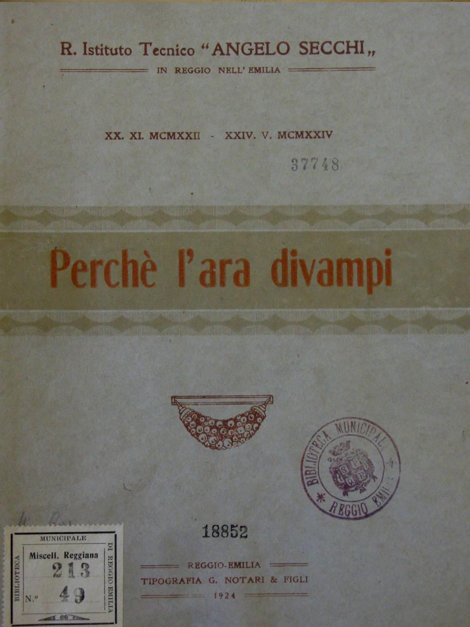 opuscolo commemorativo emeroteca biblioteca panizzi - reggio emilia 24 maggio 1924