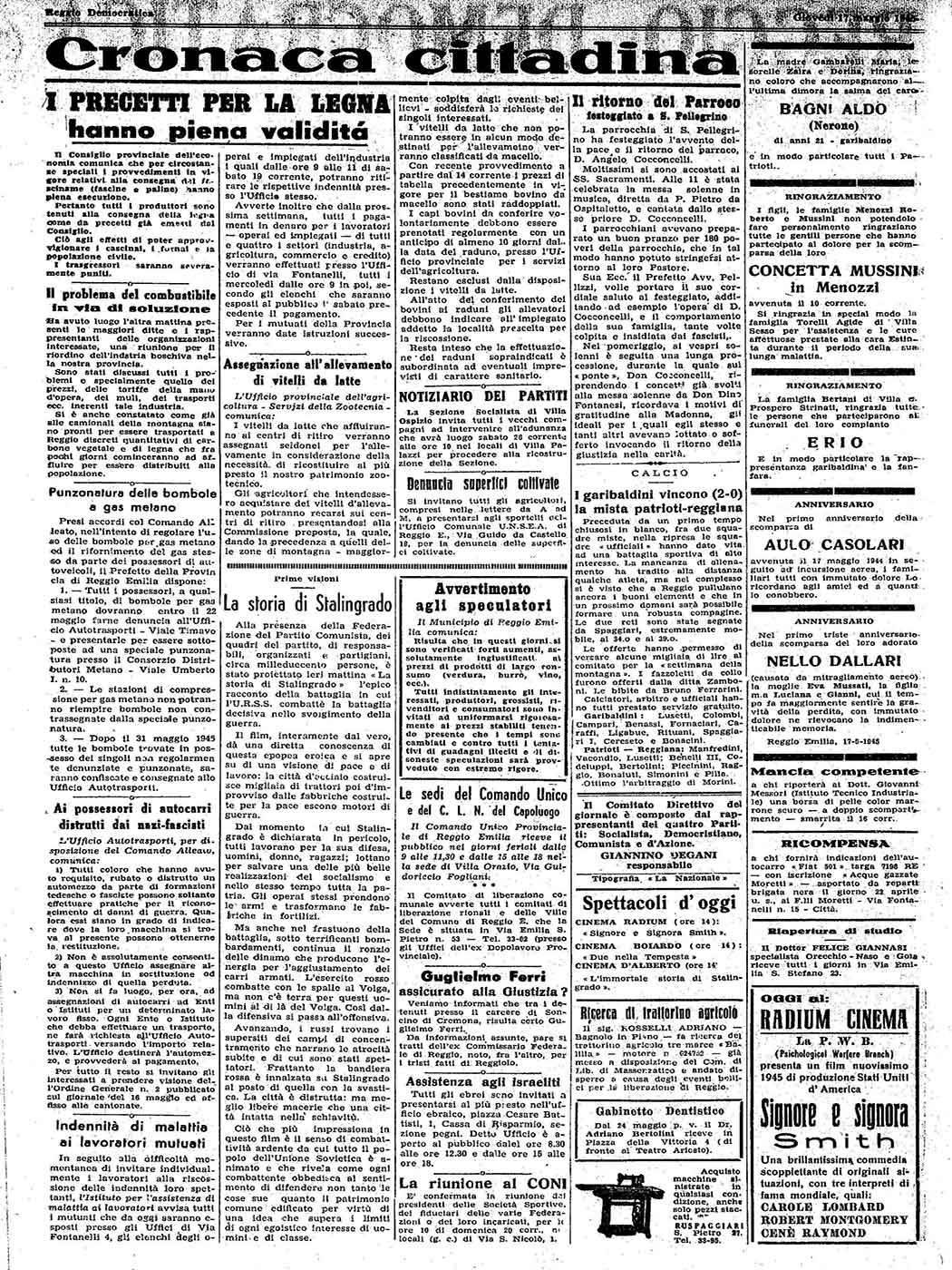 """ARTICOLO """"IL RITORNO DEL PARROCO FESTEGGIATO A SAN PELLEGRINO"""" REGGIO DEMOCRATICA, EMEROTECA BIBLIOTECA PANIZZI, REGGIO EMILIA 17 MAGGIO 1945"""