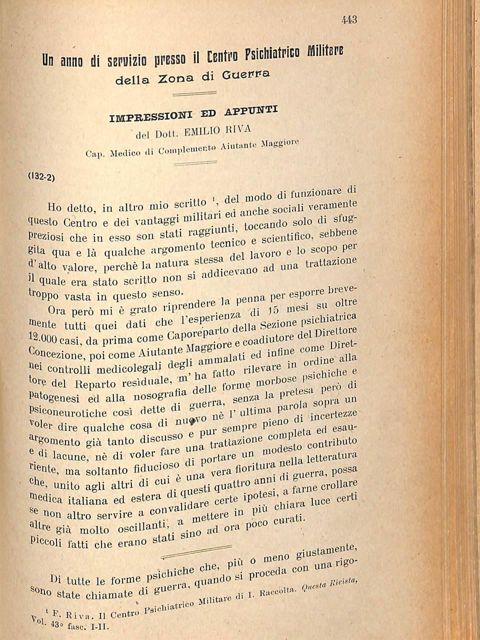 """Diario di Emilio Riva, """"Un anno di servizio presso il centro psichiatrico Militare"""" in Rivista sperimentale di freniatria, XLIII, 1919, p. 443"""