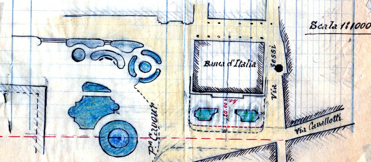 Disegno del progetto di sistemazione di Piazza Cavour ASCRE, reggio Emilia 1924
