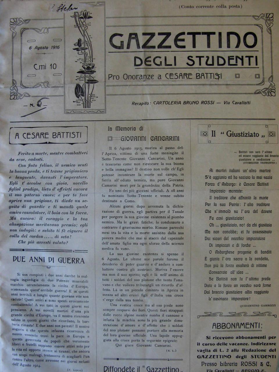 Gazzettino studenti su Battisti a Reggio Emilia