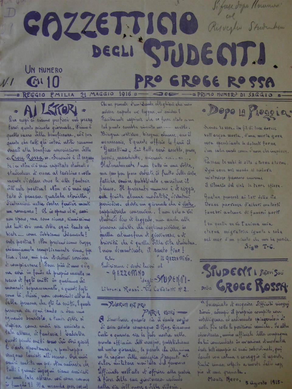 gazzettino studenti Reggio Emilia, 1916