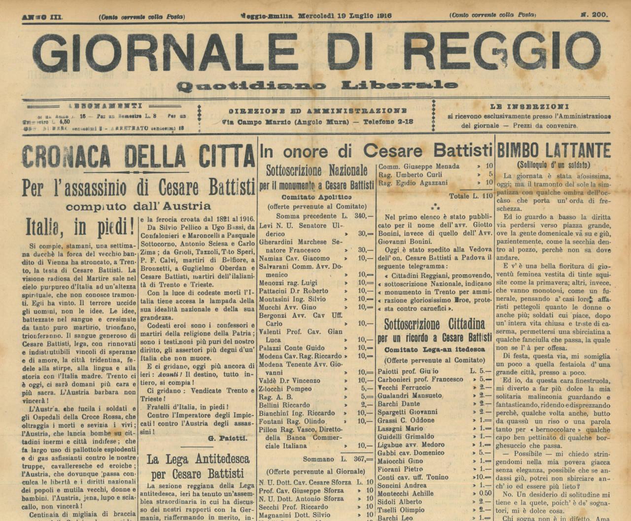 GIORNALE DI REGGIO, 19 LUGLIO 1916 ARCHIVIO ISTORECO