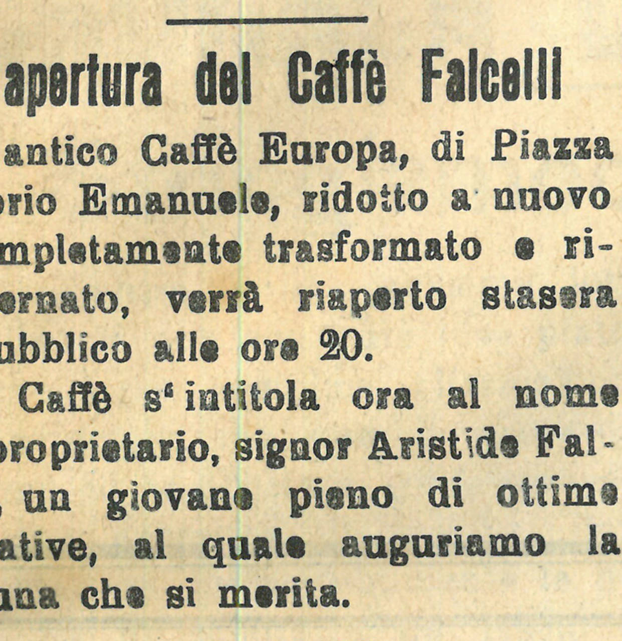 inaugurazione caffe falcelli