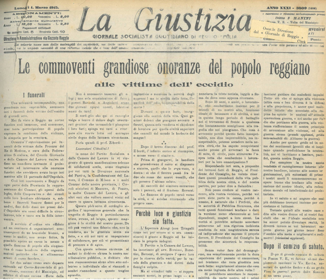 la giustizia 1 marzo 1915