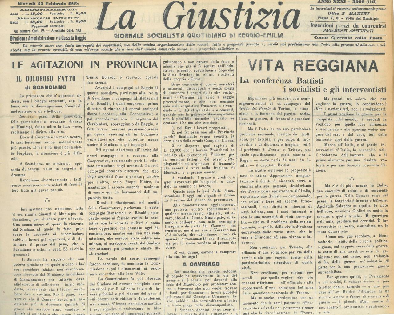 la giustizia 25 febbraio 1915