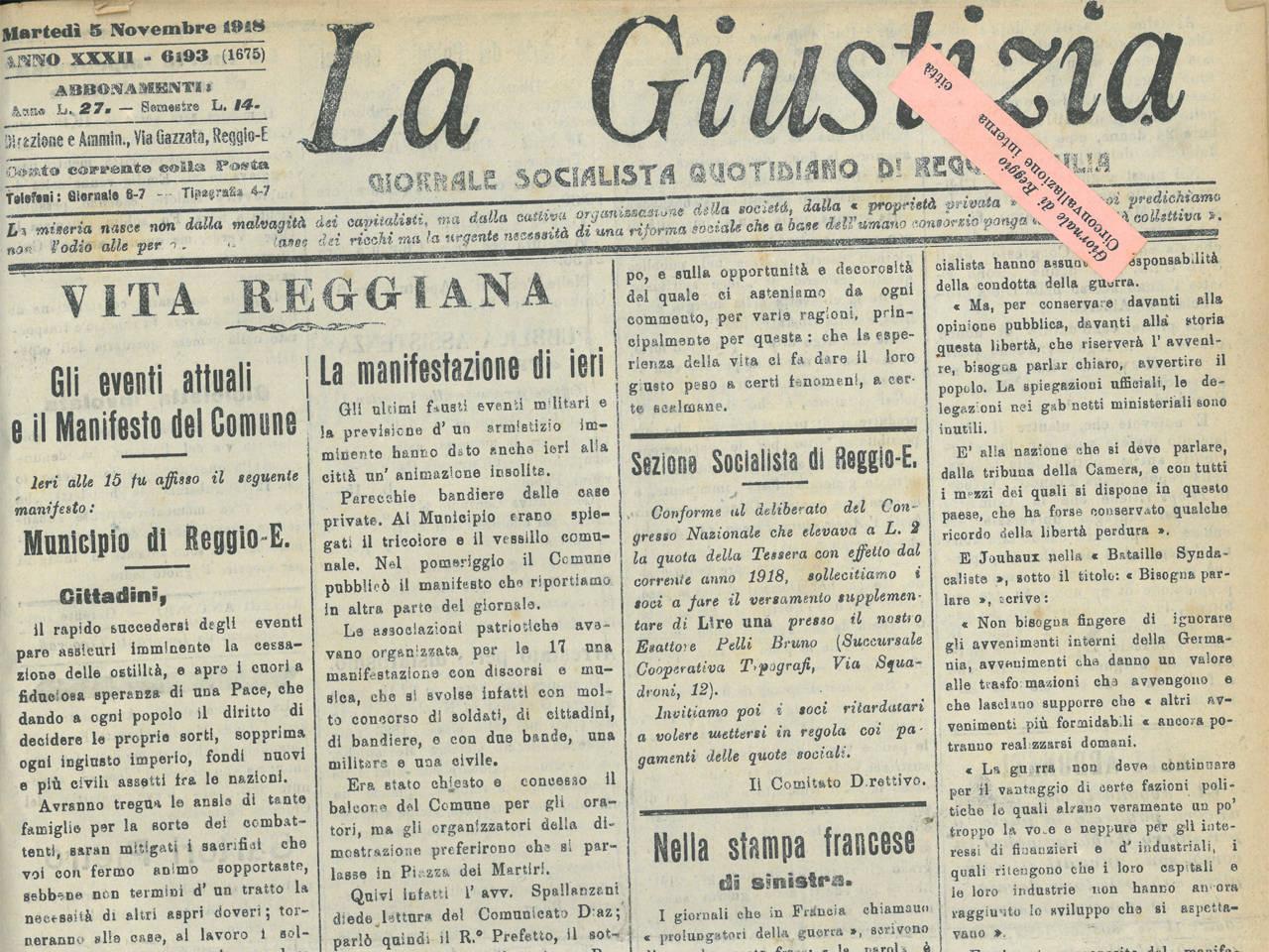 la giustizia 5 novembre 1918