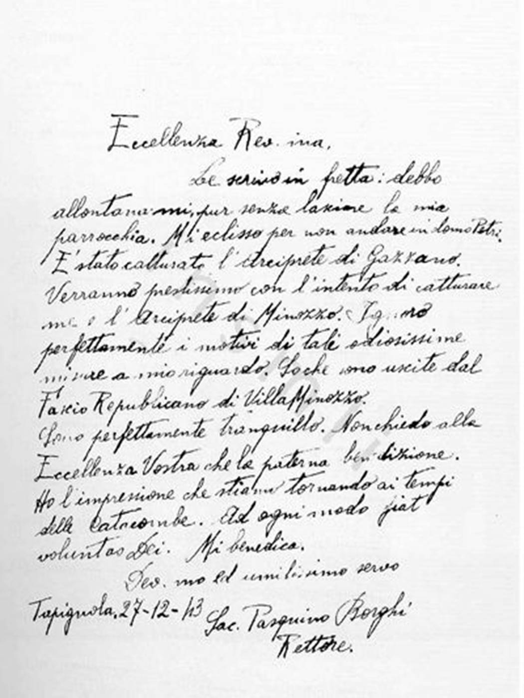 ULTIMA LETTERA SCRITTA DA DON PASQUINO BORGHI AL VESCOVO DI REGGIO EMILIA ARCHIVIO ISTORECO, TAPIGNOLA (RE) 27 DICEMBRE 1943