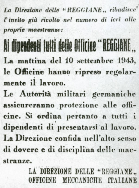 Documento Istoreco Officine Reggiane 10 settembre 43