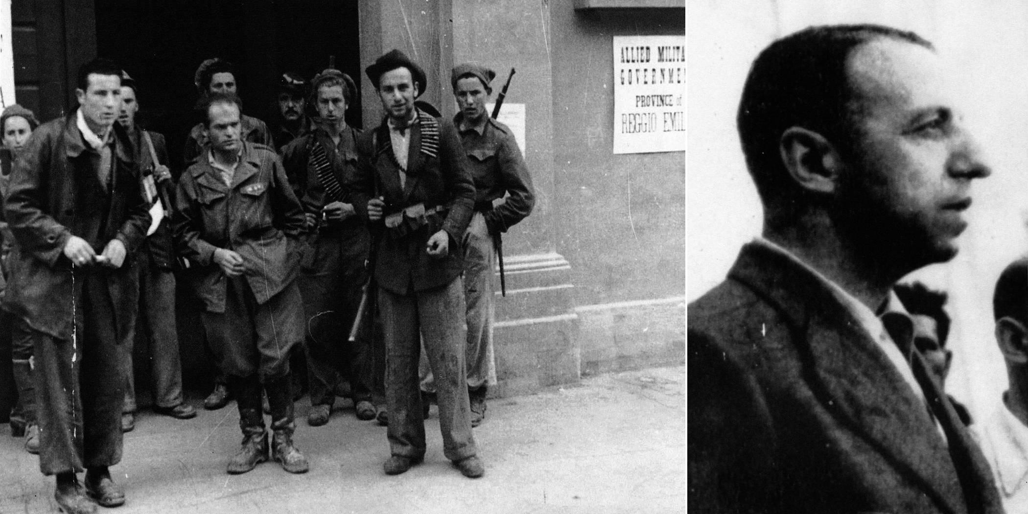 """GRUPPO DI PARTIGIANI ALL'INGRESSO DELLA PREFETTURA IN CORSO GARIBALDI, AL CENTRO IN PRIMO PIANO DIDIMO FERRARI """"EROS"""", COMMISSARIO GENERALE DEL COMANDO UNICO. ACCANTO PRIMO PIANO DI VITTORIO PELLIZZI FOTOTECA ISTORECO, REGGIO EMILIA 1945"""
