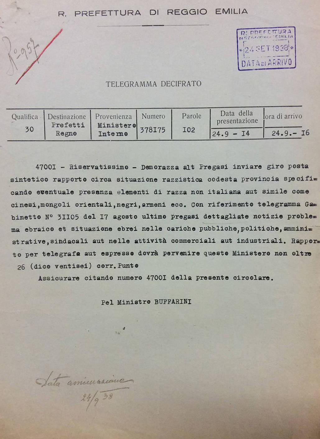 """TELEGRAMMA ALLA REGIA PREFETTURA DI REGGIO EMILIA FIRMATO DAL MINISTRO BUFFARINI, SULLA SITUAZIONE """"RAZZISTICA"""" DELLA PROVINCIA"""