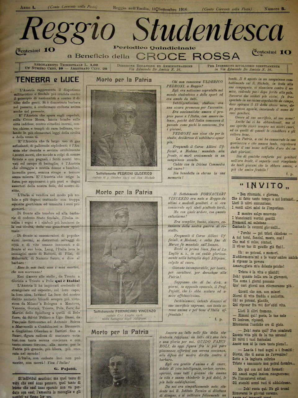 reggio studentesca, emeroteca biblioteca panizzi - reggio emilia 1916