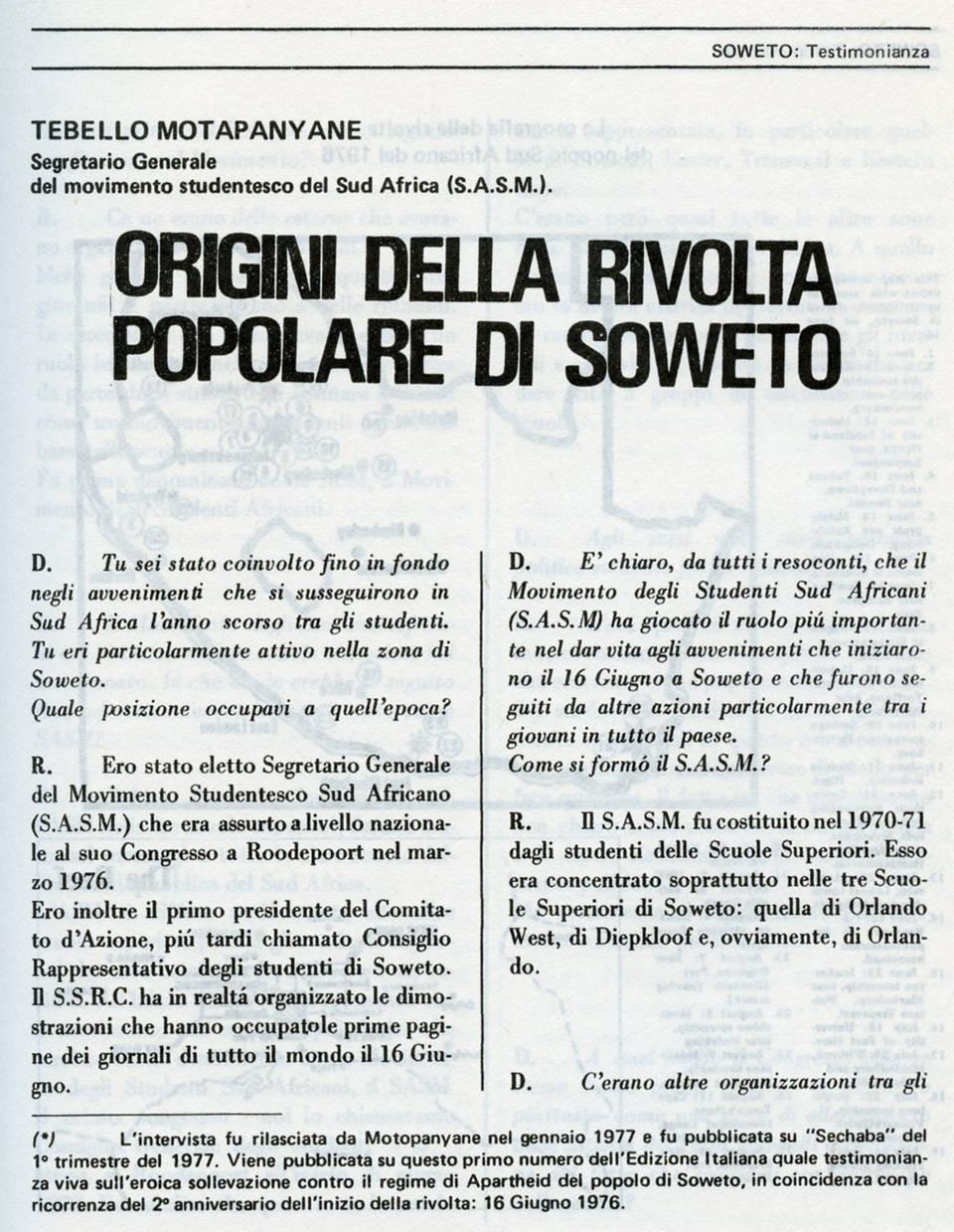 sechaba 1 giugno 1978