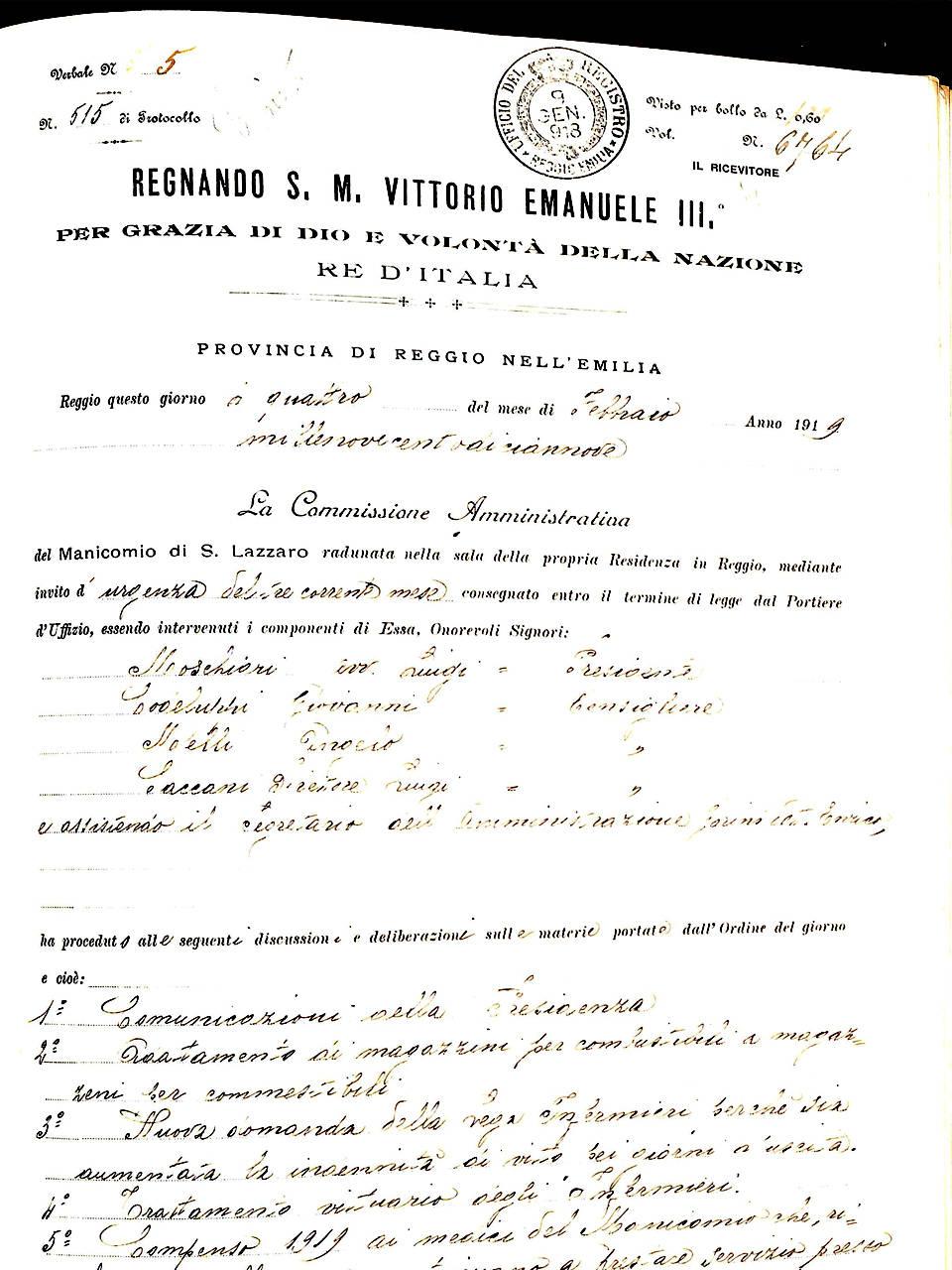 4 febbraio 1919, assunzione del servizio di bucato del Centro Neuro-Psichiatrico di Prima Raccolta