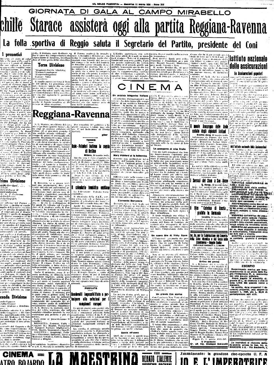 Visita Starace - Il Solco Fascista Emeroteca Biblioteca Panizzi, 11 novembre 1934