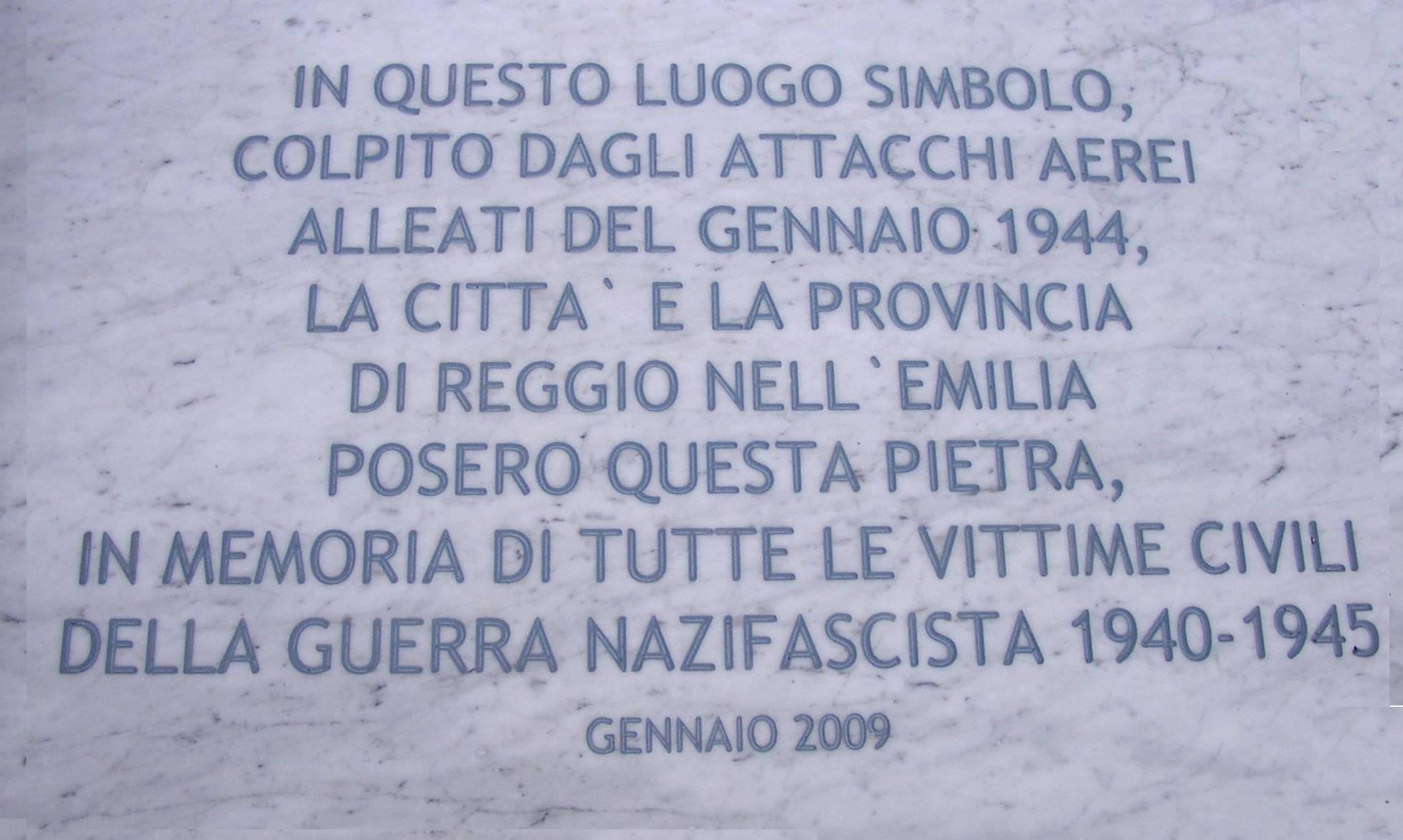 targa commemorativa bombardamenti 2009