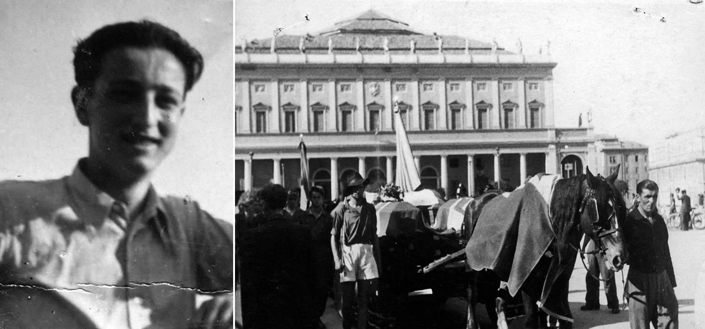 GIORGIO MAGAGNINI ANNI '40 E IMMAGINE DI UN FUNERALE PARTIGIANO FINE APRILE '45