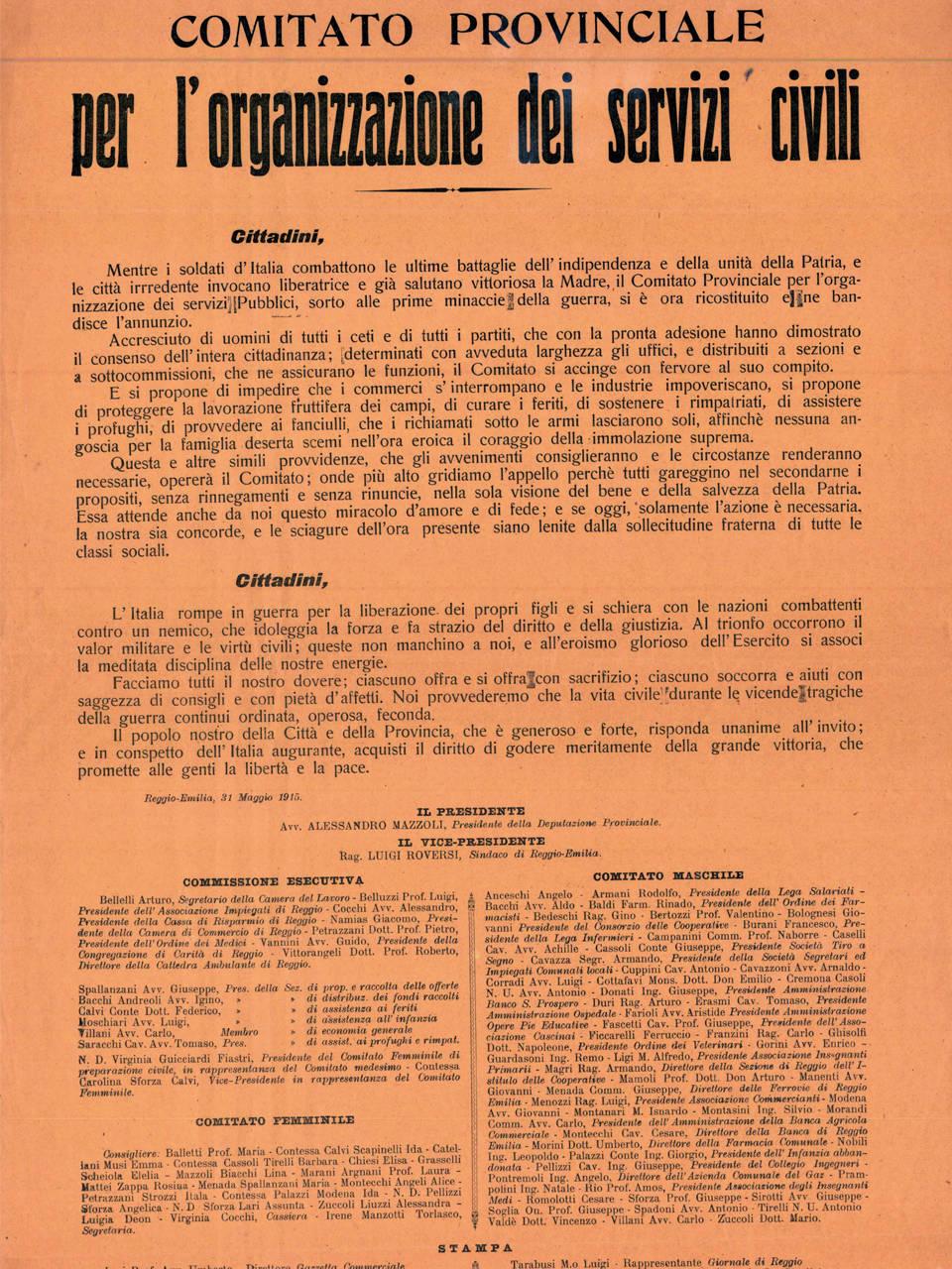 VOLANTINO COMITATO PROVINCIALE DI SERVIZI CIVILI ARCHIVIO ISTORECO - REGGIO EMILIA 31 MAGGIO 1915